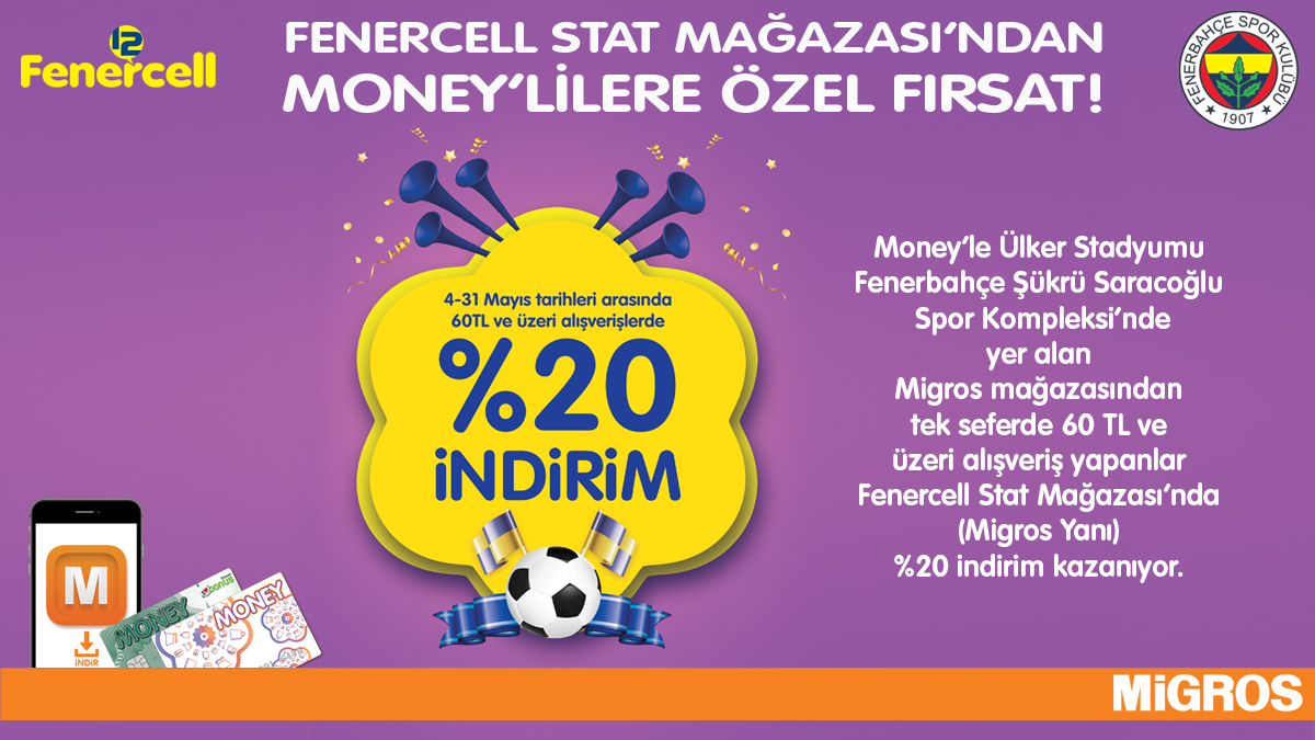Fenercell Stat Mağazası'ndan Money Kartlılara %20 İndirim Fırsatı!
